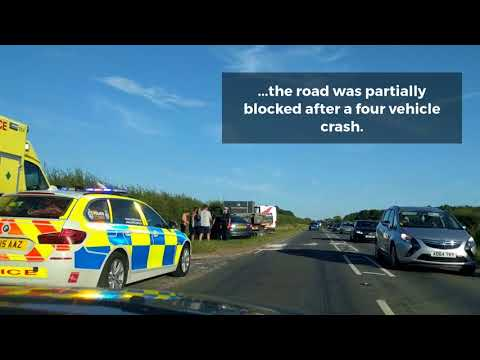 Dashcam footage shows scene after four vehicle crash on the A146