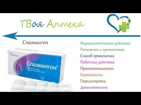 Спазмалгон таблетки - показания (видео инструкция) описание, отзывы