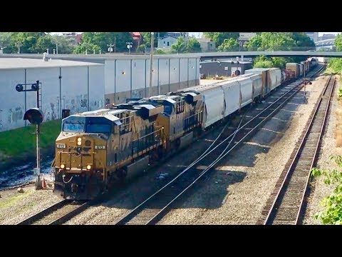 CSX Freight Train On Huge Curved Trestle & Mixed Freight Under Bridge At Major Interlocking!
