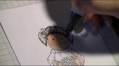 Copic marker: tumman ruskeat hiukset