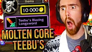 Asmongold Craziest Molten Core Run Ever - Teebu's Loot Drop - Classic WoW