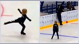 Саша Плющенко тренирует двойные прыжки, ноябрь 2020.