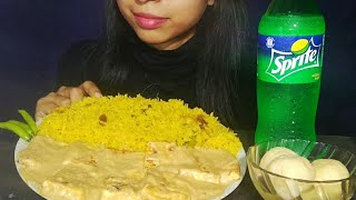 Eating Panner Butter Masala With Yellow Pulao | Mukbang Indian Food | Food Lover Puja