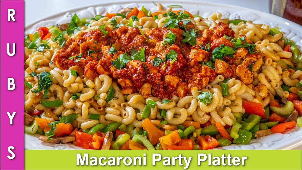 Macaroni Party Pasta Platter Colorful & Tasty Presentable Recipe for any Dawat in Urdu Hindi - R