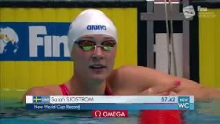 Sarah SjostromRecord 100m mariposa Copa Mundial FINA Kazan 2018