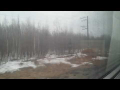 Отправление поезда со станции Лангепас. Поезд 94 Омск-Нижневартовск
