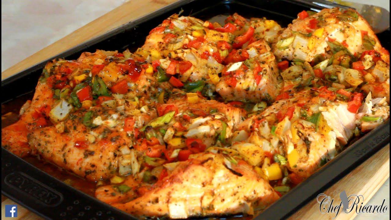 season salmon oven bake at home recipes by chef ricardo
