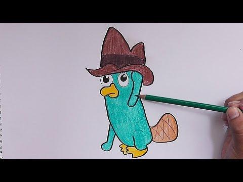 dibujar y pintar a perry el ornitorrinco phineas y ferb draw and