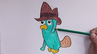 Dibujar y pintar a Perry el Ornitorrinco (Phineas y Ferb) - Draw and paint Perry the Platypus