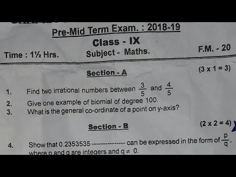 Class 9 Maths Periodic Test-1 Question Paper (2018-19) - YouTube
