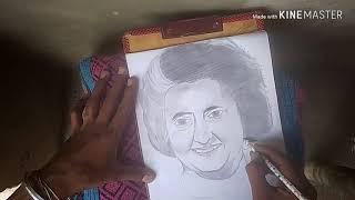 Live panting of shri mati indira gandhi by hoshiyari arts