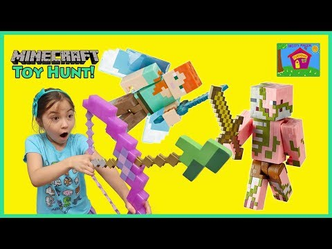 MINECRAFT Surprise Toys Hunt in Real Life | Kid Friendly Toy Review