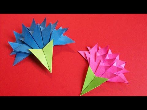 Цветы Из Бумаги Своими Руками. СУПЕР Простая ГВОЗДИКА на Открытку. Гвоздики Оригами