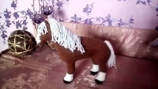видео Вязаная крючком лошадка