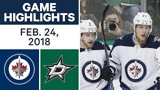 NHL Game Highlights | Jets vs. Stars - Feb. 24, 2018