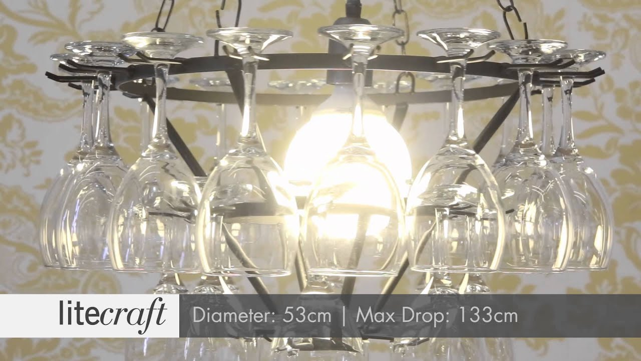 3 Tier Wine Glass Chandelier Black