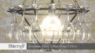 3 Tier Wine Glass Chandelier - Black | Litecraft - Lighting Your Home