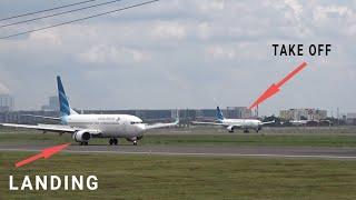 Pesawat Terbang Bergantian Take Off dan Landing di Bandara Soekarno-Hatta Jakarta 2021