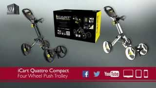 icart quattro compact 4 wheel push golf trolley quick fold in 1 movement