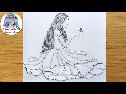 How to draw A Cute Girl with Butterfly || Pencil sketch || Drawing Tutorial thumbnail