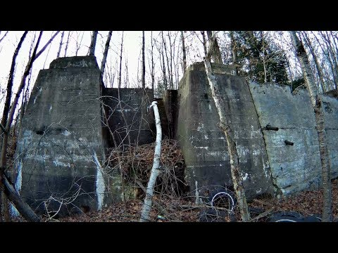 Pennsylvania Abandoned Cement Structure Foundation in woods URBEX