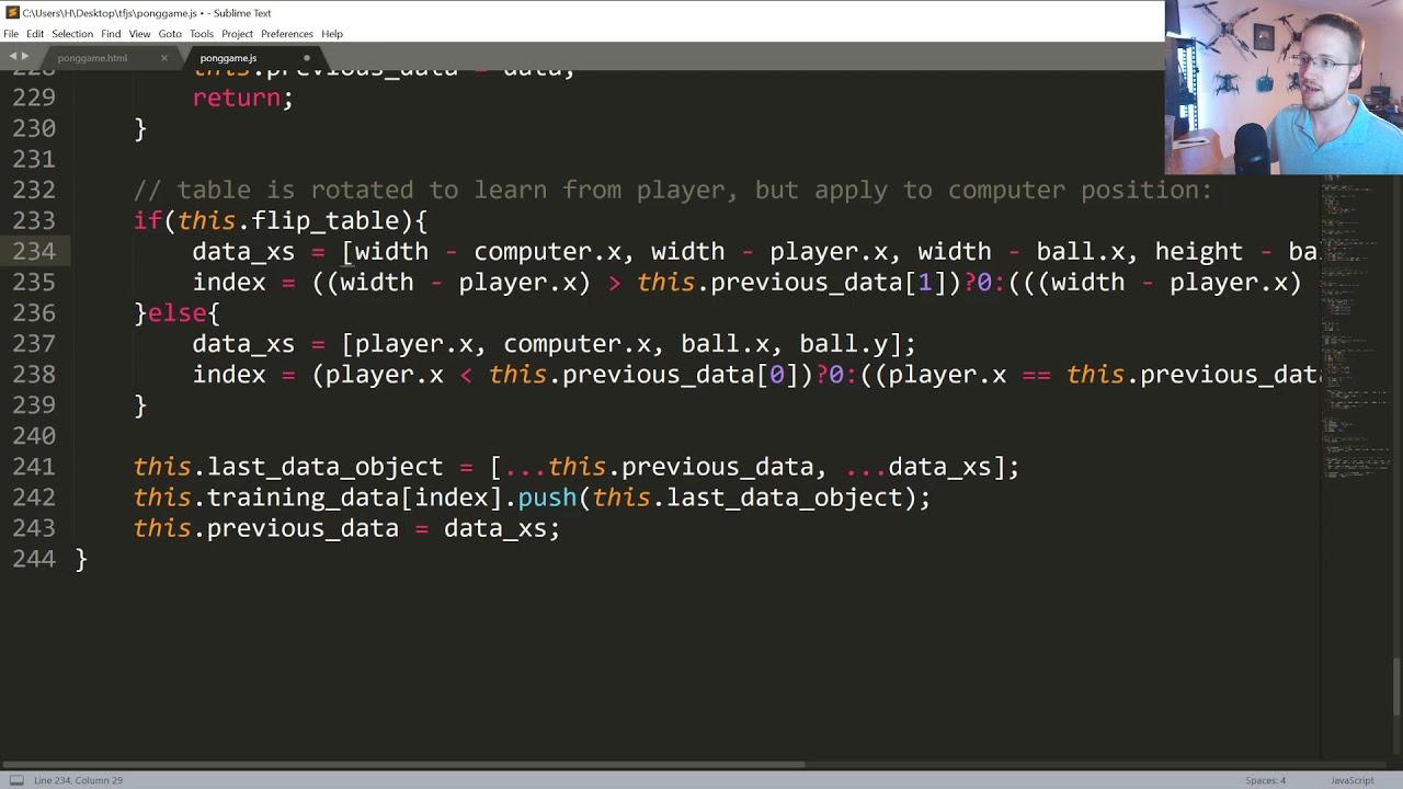 AI Pong - TensorFlow js p 3