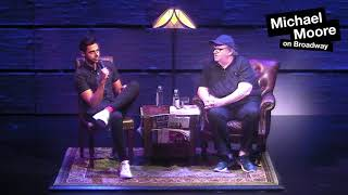 Hasan Minhaj visits Michael Moore on Broadway