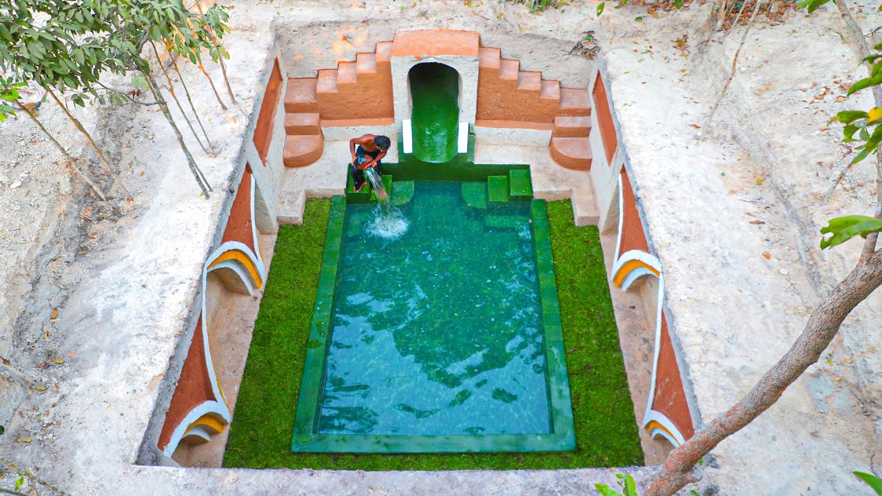 Build The Most Awesome Tunnel Water Slide To Swimming Pool And Underground Temple