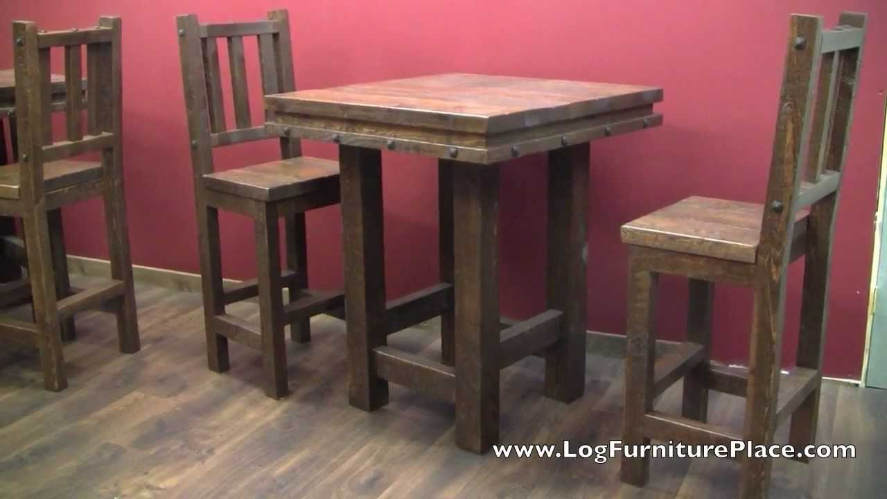 Lonestar rustic barnwood pub table from logfurnitureplace com youtube