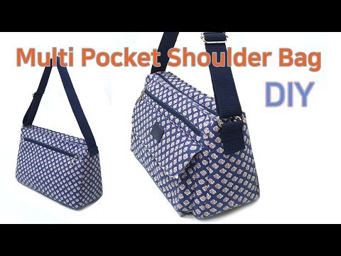 DIY Multi Pocket Shoulder Bag/Shoulder Bag Tutorial/가방만들기/Tutorial de bolsa de ombro multi bolso