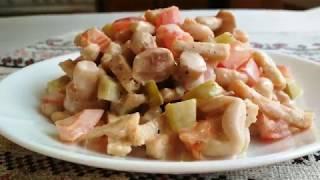 Постный Фасолевый Салат. Постный Салат с Фасолью, Грибами и Сухариками за 5 минут