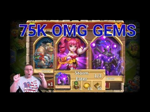 Castle Clash 75K F2P Gem Rolling OMG CRAZY