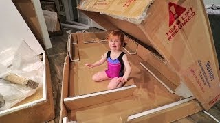 Adley FIRST TIME Gymnastics and Tumbling!! (and a box fort)