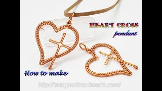 Heart cross pendant - How to make Christian necklaces from copper wire 448