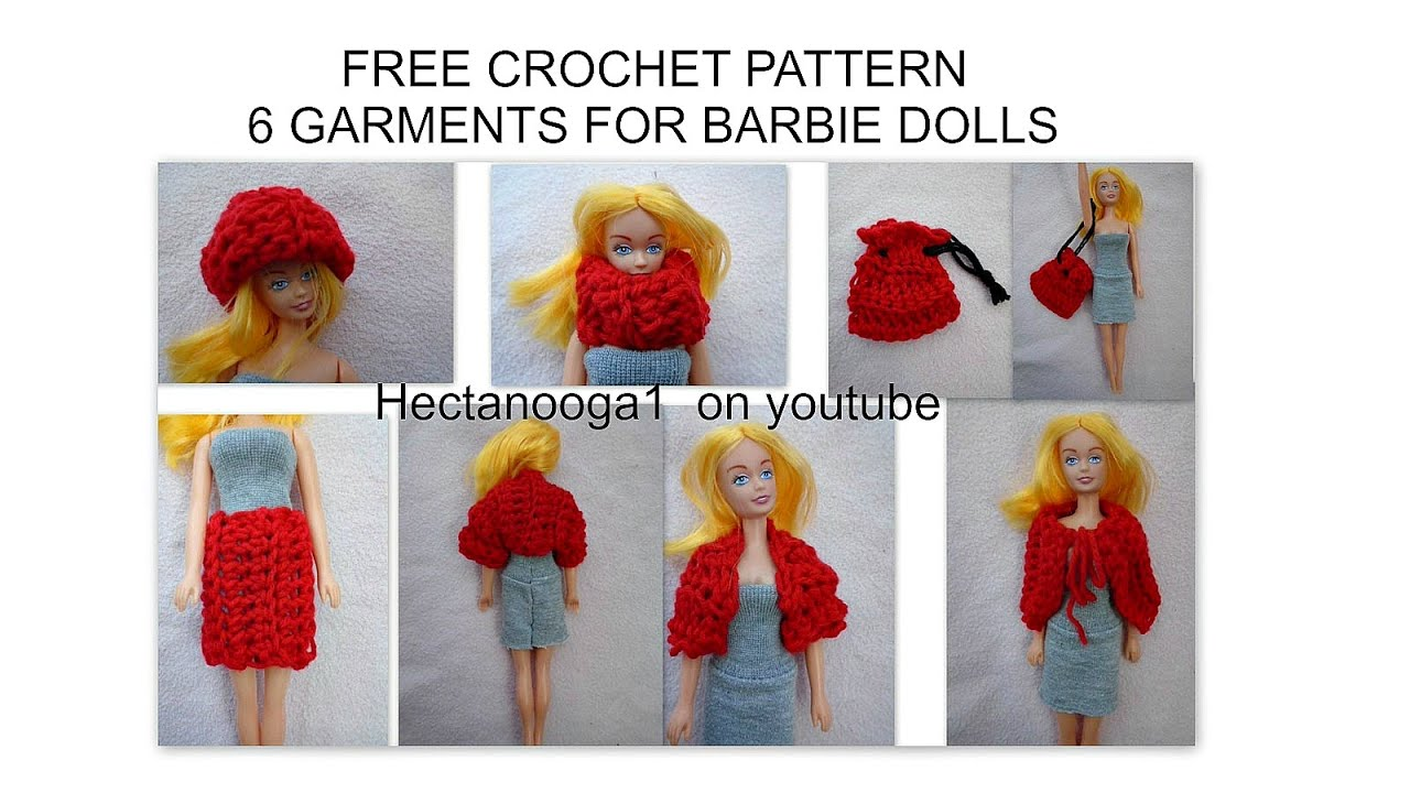 Free crochet pattern barbie clothing 6 garments hat shrug cowl free crochet pattern barbie clothing 6 garments hat shrug cowl cape skirt bag 1078 youtube dt1010fo