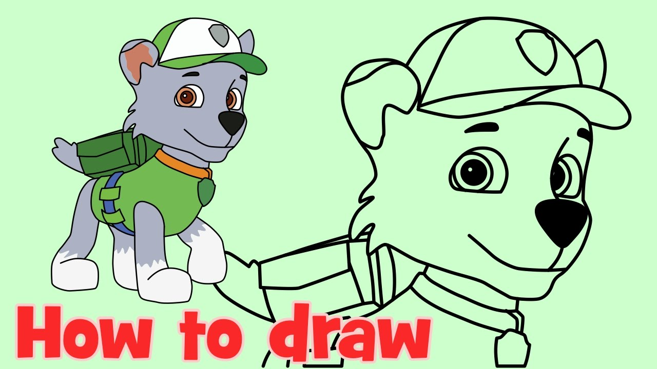 how to draw rocky paw patrol characters step by step youtube