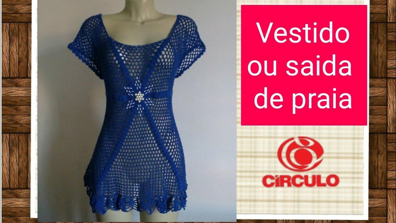 ee8fb7700a Versão canhotos Vestido ou saída de praia em crochê (42 44)   Elisa Crochê