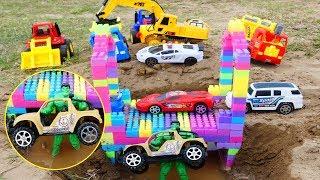 Hulk with jeep Car for Kids   Road Roller Excavator Crane Truck  Dump Truck Toys for Children,