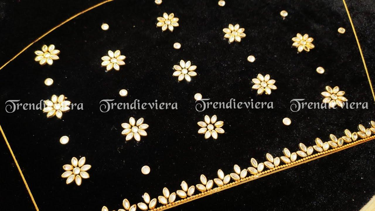 Beautiful velvet black blouse design using normal needle