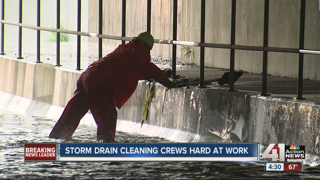 Storm drain cleaning crews hard at work