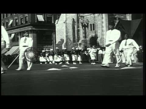 Parade marks start of Elks National Convention in Indianapolis, Indiana. HD Stock Footage