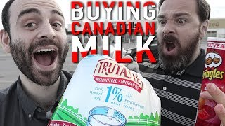 American explores Canadian grocery store (tries BAGGED milk and Ketchup chips)
