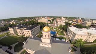 Aerial view of 2015 Iowa Jazz Festival from behind the Iowa Old Capitol Building
