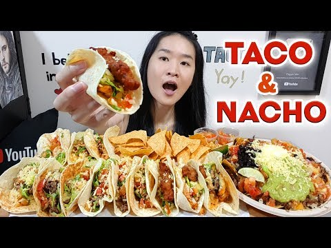 TACOS & NACHOS! Beef, Fish & Pork Taco, Loaded Cheese Nacho, Tortilla Chips | Eating Show Mukbang