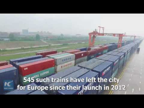 Aerial view of China-Europe freight train terminal in Wuhan