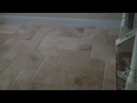 French Pattern: Travertine Tile on French Pattern Installed by Stone Mart Tile Installers