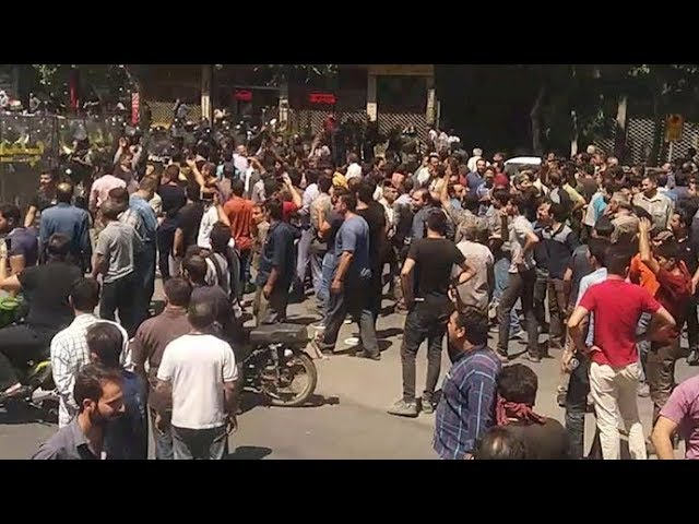 IRAN, August 1,  2018. Protests erupt for the second day in Shapour, Isfahan