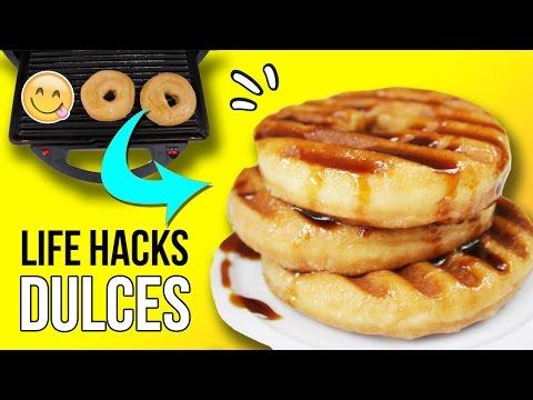 ¡Los mejores TRUCOS con DULCES! 😋 ¡Cómo hacer TORTITAS con DONUTS! 🍩  4 LIFE HACKS con COMIDA 🍪