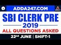 SBI Clerk Prelims Exam 2019 - Memory Based Paper PDF | All Sections