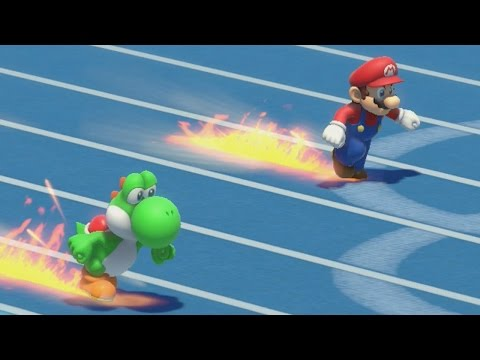 Mario and Sonic at the Rio 2016 Olympic Games - 100m (All Characters Gameplay)